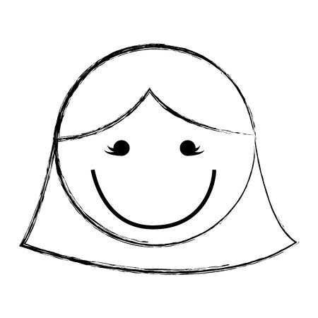 sketch draw women face cartoon vector graphic design