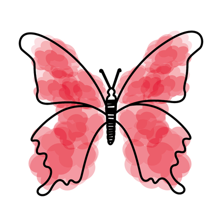 watercolor pink butterfly cartoon vector graphic design Illustration