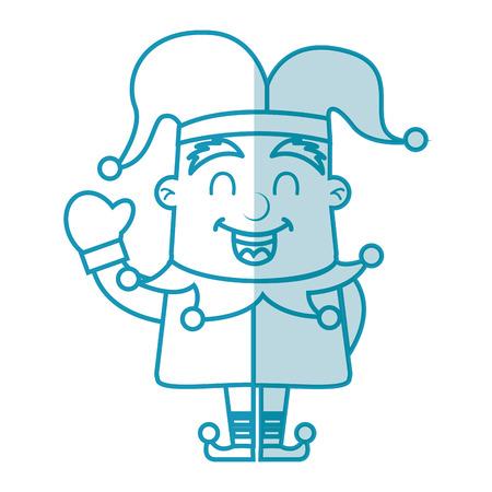 shadow blue jester cartoon vector graphic design