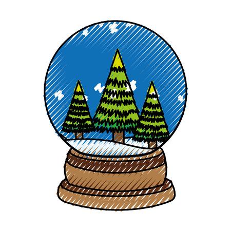 scribble christmas glass snow ball vector graphic design Illustration