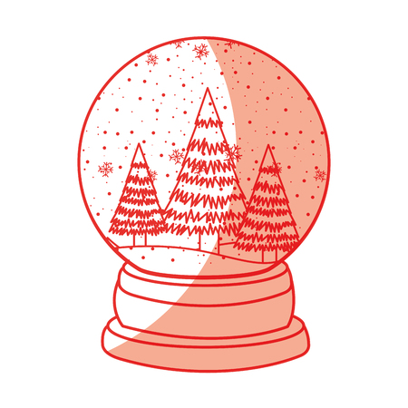 shadow red christmas glass snow ball vector graphic design Illustration