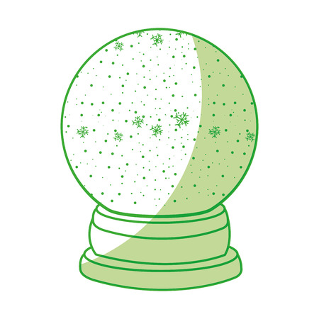 shadow green christmas glass snow ball vector graphic design
