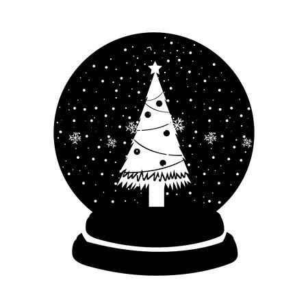 black icon christmas glass snow ball vector graphic design Illustration