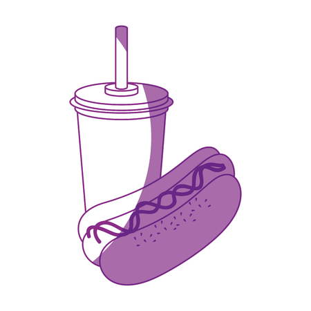 hot dog and drink cup icon over white background vector illustration Иллюстрация