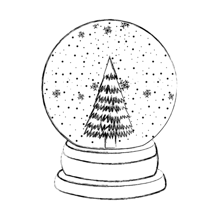 sketch draw christmas glass snow ball vector graphic design