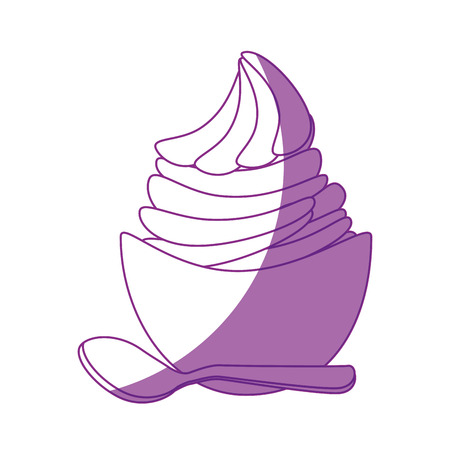 ice cream bowl icon over white background vector illustration