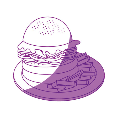 hamburger and french fries  icon over white background vector illustration