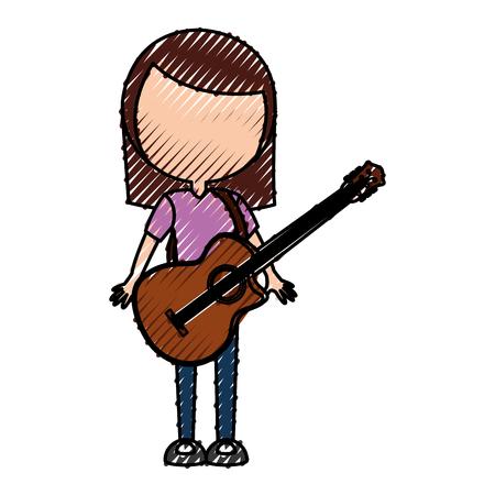 scribble faceless women guitar cartoon vector graphic design Illustration