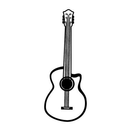 black icon guitar cartoon vector graphic design Ilustração