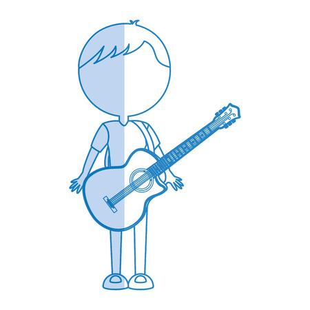 shadow blue guitar body man cartoon vector graphic design