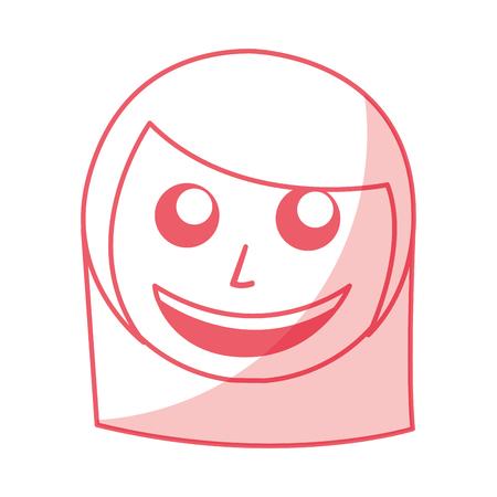 shadow pink women face cartoon vector graphic design