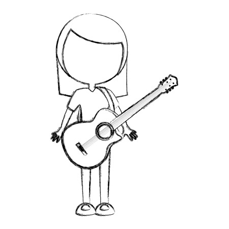 sketch draw faceless women guitar cartoon vector graphic design Illustration