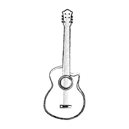 sketch draw guitar cartoon vector graphic design