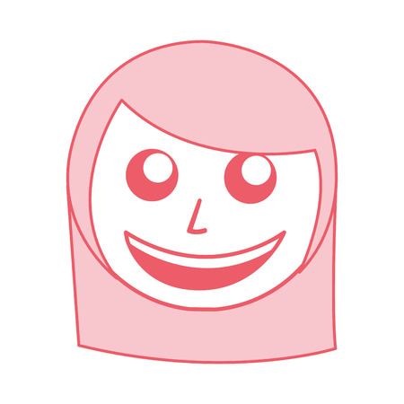 cute pink women face cartoon vector graphic design