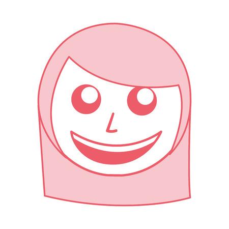 cute pink women face cartoon vector graphic design