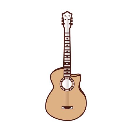 cute brown guitar cartoon vector graphic design