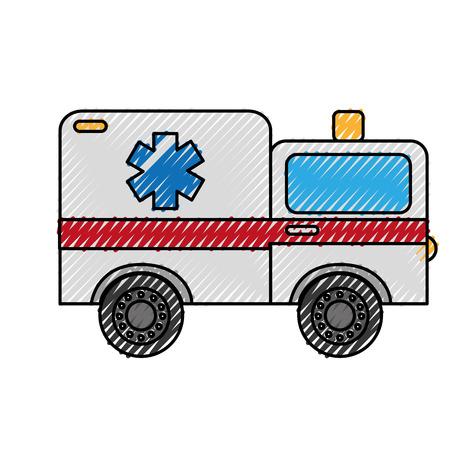scribble ambulance car cartoon vector graphic design