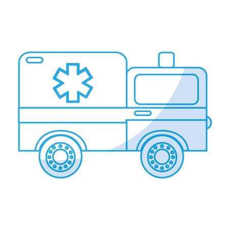 shadow blue ambulance car cartoon vector graphic design
