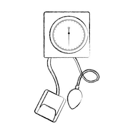 sketch draw blood plessure apparatus cartoon vector graphic design