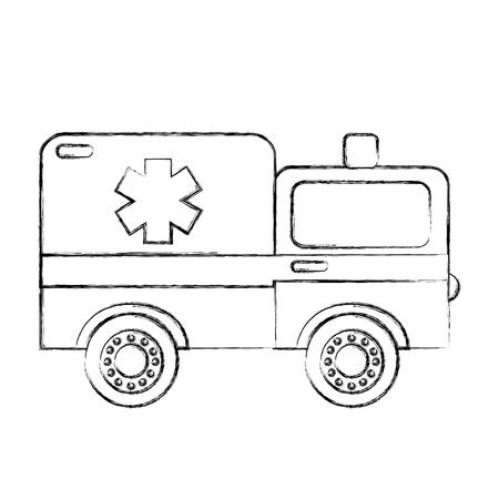 sketch draw ambulance car cartoon vector graphic design