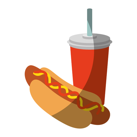hot dog and drink cup icon over white background vector illustration Illustration
