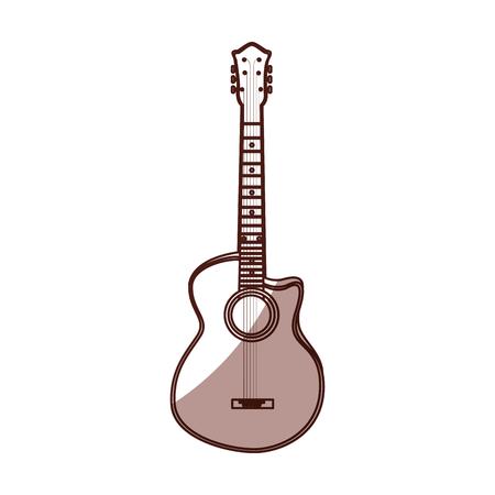 shadow guitar cartoon vector graphic design icon