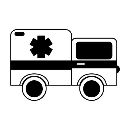 black icon ambulance car cartoon vector graphic design