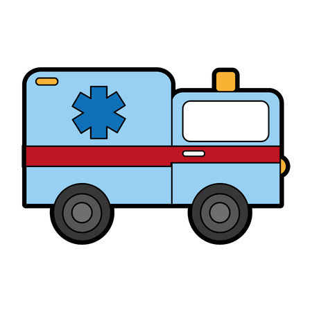 cute blue ambulance car cartoon vector graphic design Illustration
