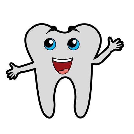 Disegno grafico vettoriale del fumetto del dente di sorriso sveglio Archivio Fotografico - 79967439