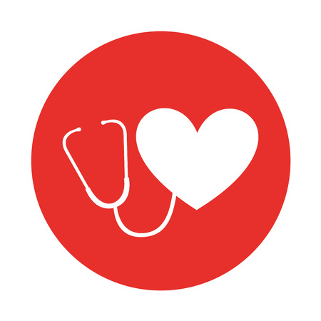 round icon heart stethoscope vector graphic design Illustration