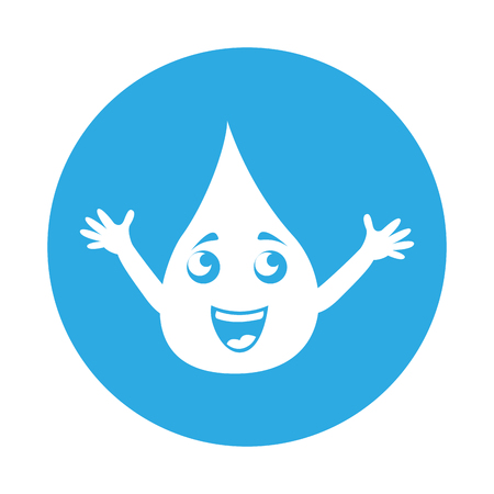 round icon blue water drop cartoon vector graphic design