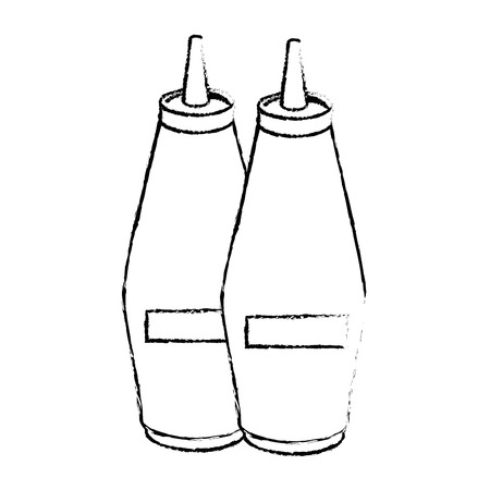 sauce bottles icon over white background vector illustration