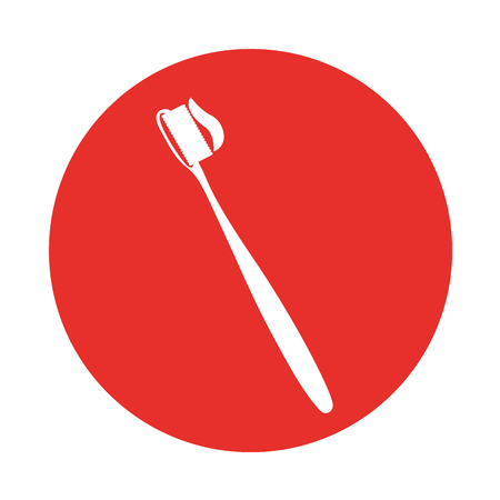 round icon red toothbrush cartoon vector graphic design