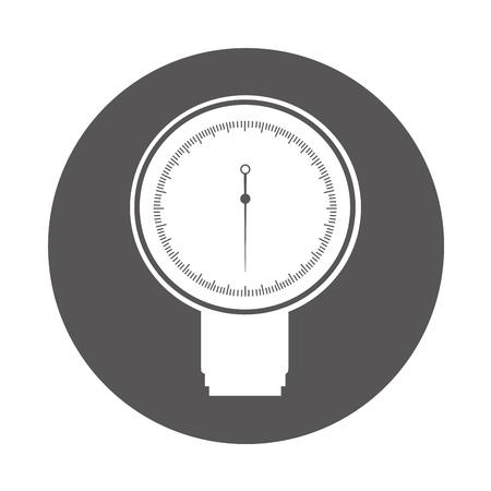 healer: round icon grey blood plessure apparatus cartoon vector graphic design Illustration
