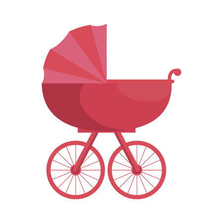 baby carriage icon over white background vector illustration
