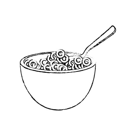 Graan kom icoon over witte achtergrond vector illustratie Stock Illustratie