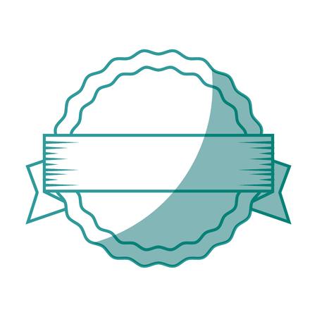 circular frame decorative ribbon icon over white background vector illustration