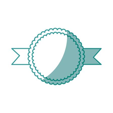 circular frame decorative ribbon icon over white background vector illustration Stock Vector - 79949549