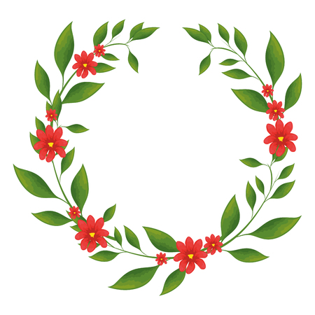 wreath of tropical flowers and leaves icon over white background colorful design vector illustration