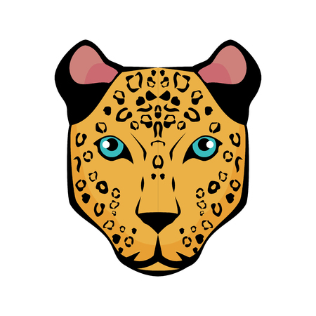 tiger face icon over white background colorful design vector illustration