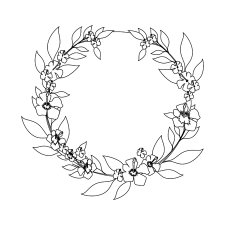 wreath of tropical flowers and leaves icon over white background vector illustration Illustration