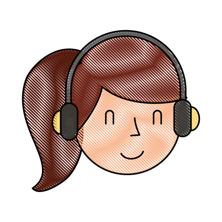 earphone: young woman with earphone vector illustration design Illustration