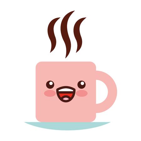 Koffie kop karakter vector illustratie ontwerp Stock Illustratie