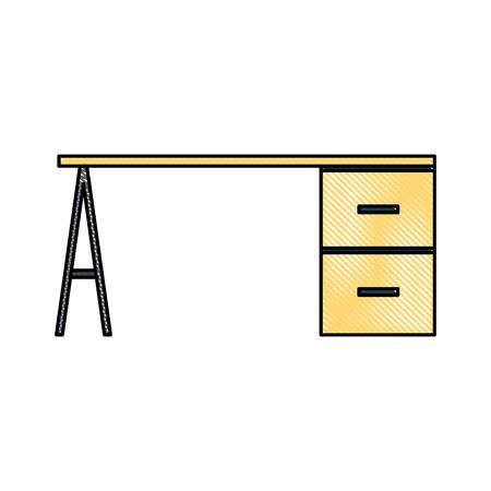オフィスの机のアイコン ベクトル イラスト デザインを分離しました。