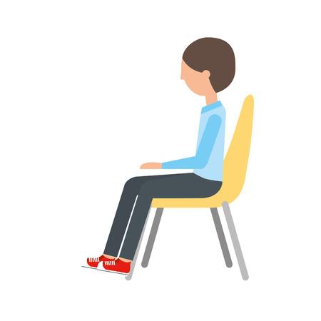 椅子ベクトル イラスト デザインに坐っている人