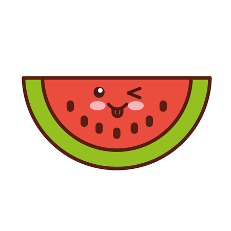 watermelon fresh fruit character vector illustration design Stok Fotoğraf - 80034429