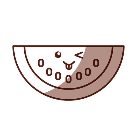 watermelon fresh fruit character vector illustration design