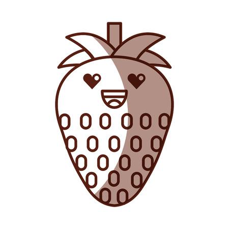 strawberry fresh fruit character vector illustration design