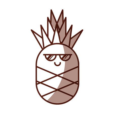 pineapple fresh fruit character vector illustration design
