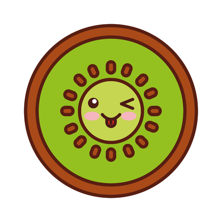 kiwi fresh fruit character vector illustration design